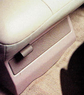 image in color of the interior of Matt Billmeier's 1995 Dodge Ram truck  highlighting the passenger's side waveguide under the seat