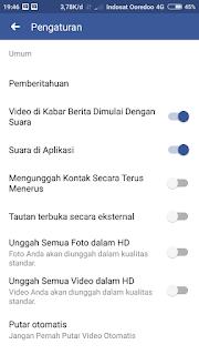 Pengaturan aplikasi lanjutan facebook
