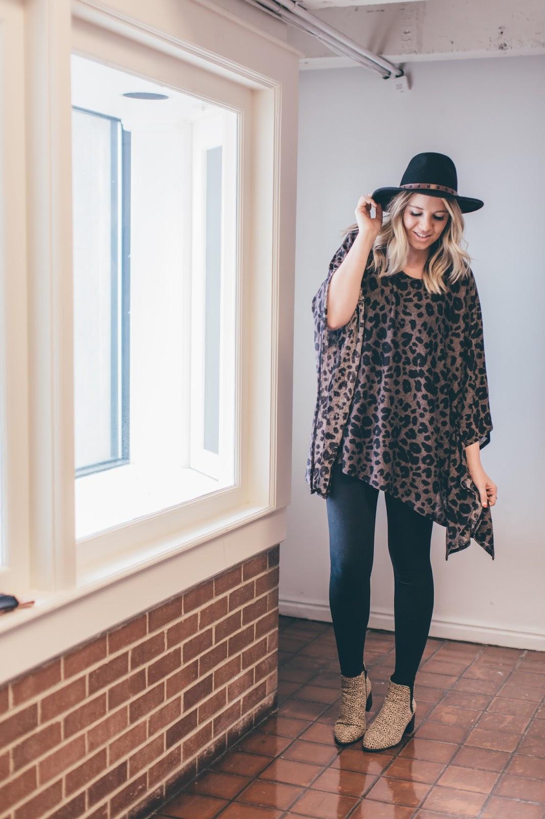 Leopard Poncho, Leopard Booties, Postpartum Outfit