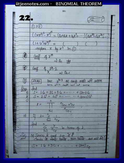 notes on binomial theorem