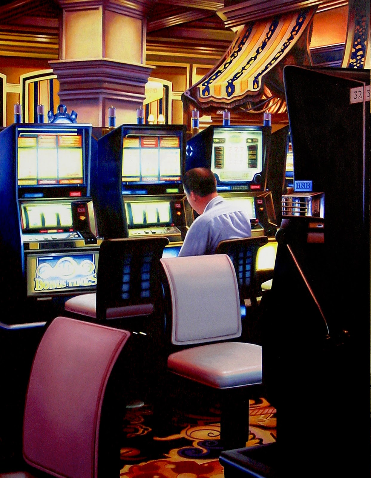 Delightful Slot Machines 3  City Scene Painting Of A Man Gambling In Hotel Lobby Las  Vegas