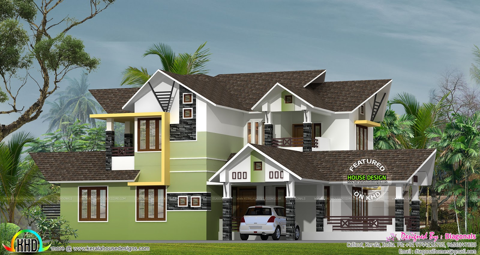 250 square meter modern sloping roof kerala home design and floor plans - Houses atticsquare meters ...