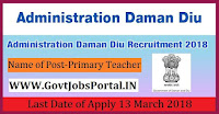 Department of Primary Education, Daman Recruitment 2018-45 Primary Teacher