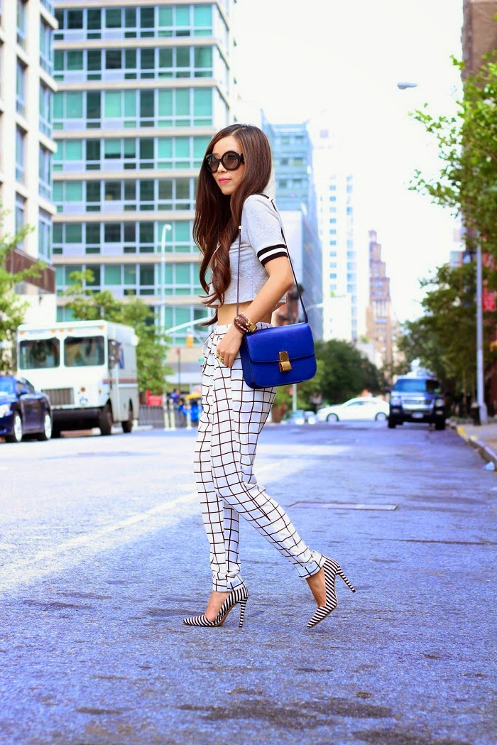 Shallwesasa,croptop,grey,checker,pants,windsorStore,prada,celine,wrapwatch,aliceandolivia,nyc,ootd,ootn,classic,hair