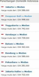 Penerbangan domistik ke Medan