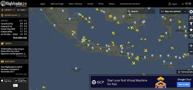 Mengetahui Posisi Pesawat dengan Website Filghtradar24.com