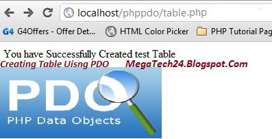 PHP Database Table Creation using PDO
