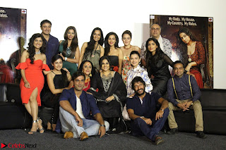 Vidya Balan with Ila Arun Gauhar Khan and other girls and star cast at Trailer launch of move Begum Jaan 016.JPG