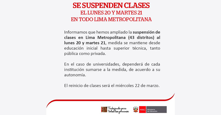 MINEDU suspende clases escolares el Lunes 20 y Martes 21 en Lima Metropolitana - www.minedu.gob.pe