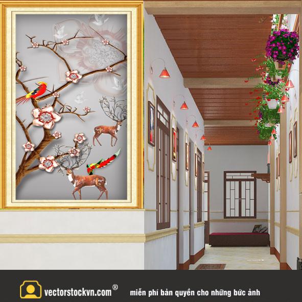 Tranh treo tường cặp hươu vàng và cặp hươu trắng