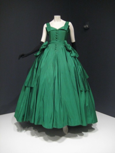 Green silk taffeta evening gown on mannequin designed by Christian Dior 1954