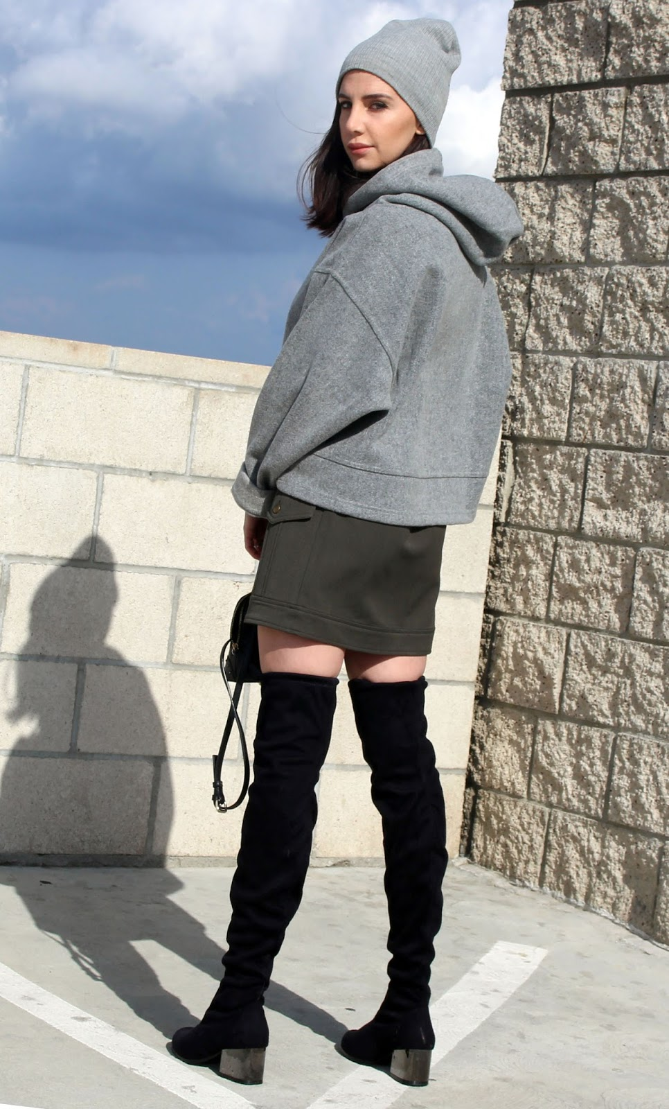 over knee boots, hoodie, army green mini skirt