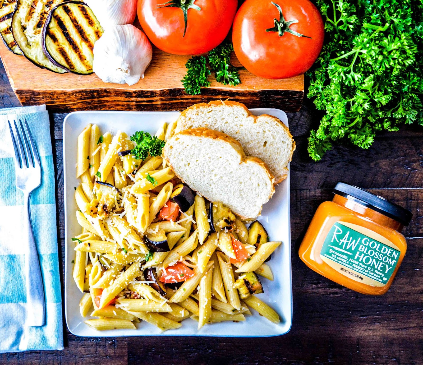 Penne Pasta Grilled Vegetables