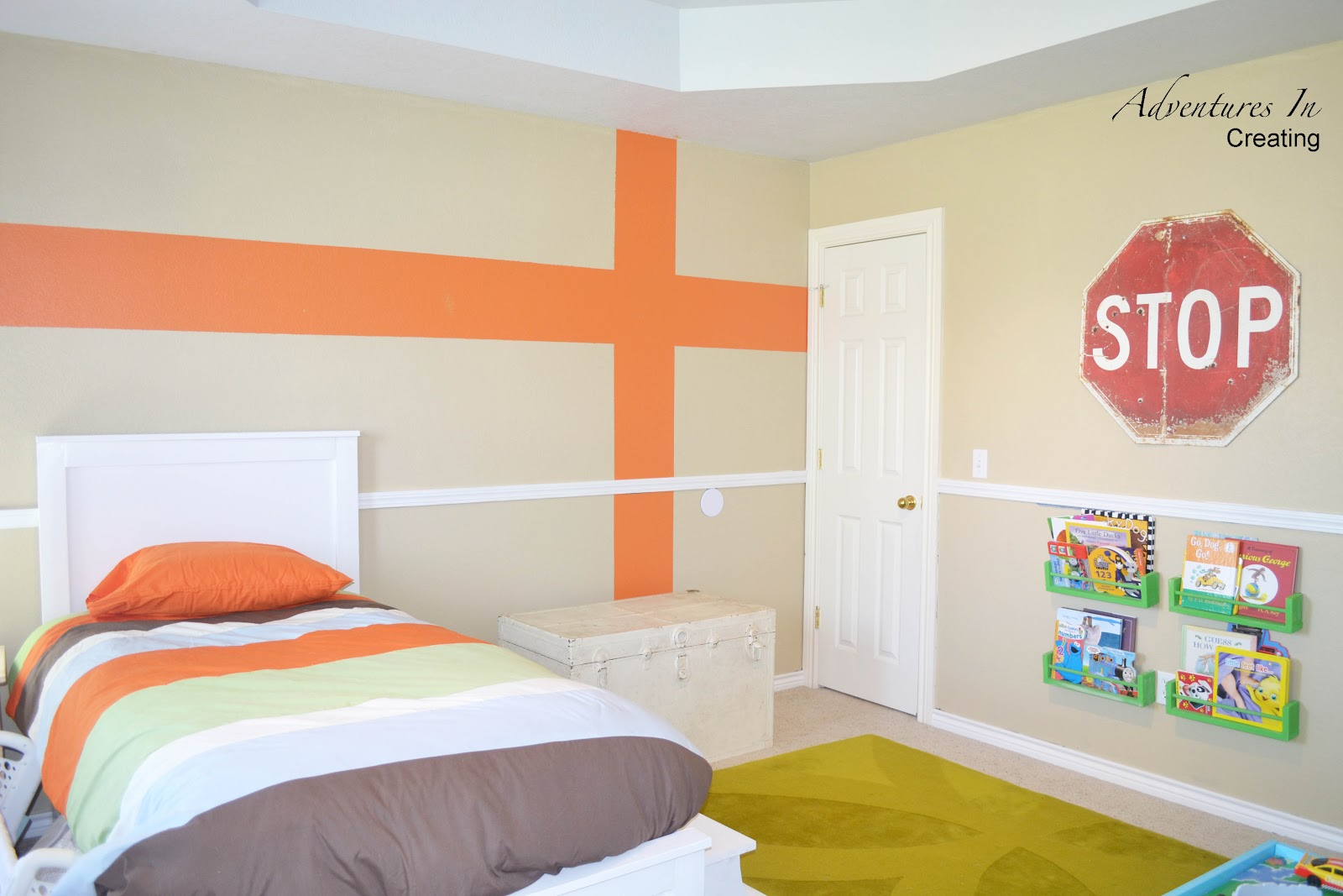 Boys Bedroom with Orange Accents
