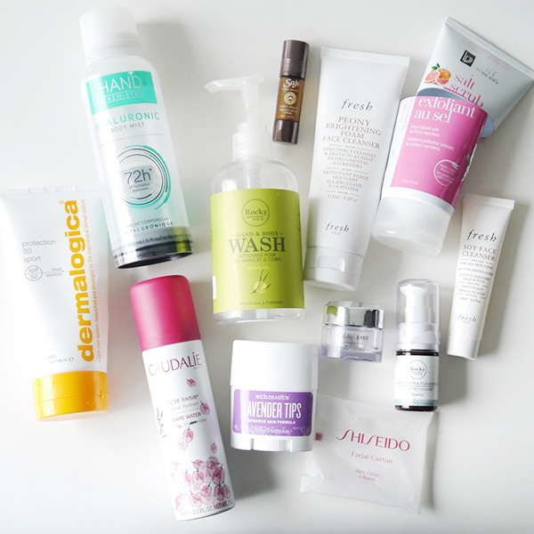 Empty skin and body care products from the drugstore, department store, and natural beauty brands