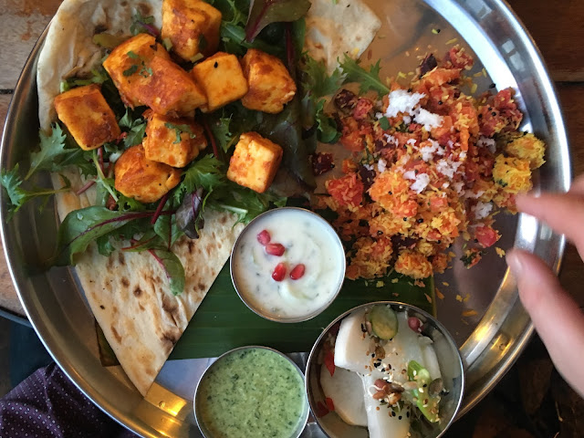 Colourful paneer kebab at The Thali Cafe in Montpelier