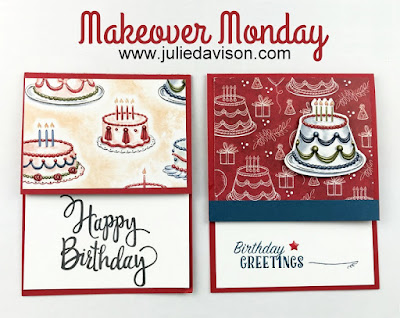Makeover Monday: Stampin' Up! Birthday Delivery Cake Card ~ www.juliedavison.com