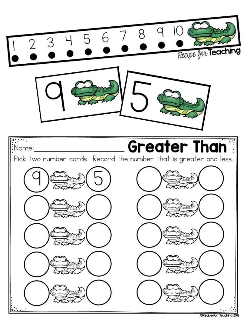 worksheet Greater Than Less Than greater than and less alligator math recipe for teaching the number that is on right circle this way it would read mouth facing the