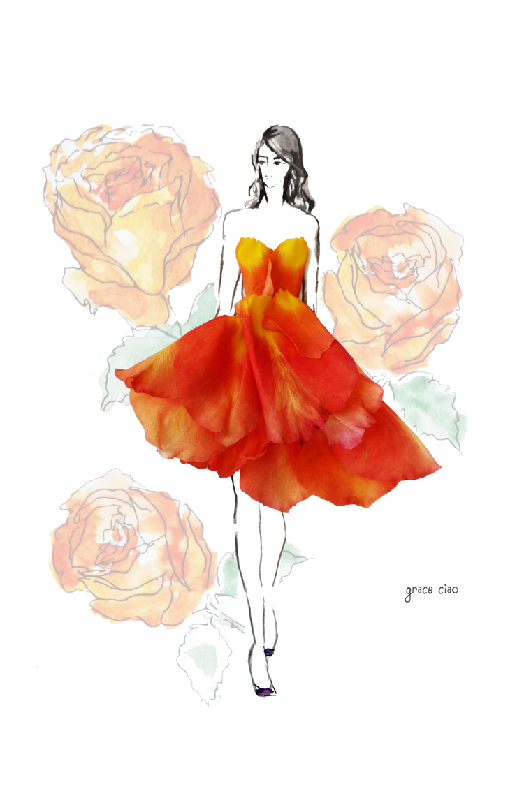 08-Fantasy-Orange-Tube-Nature-and-Grace-Ciao-Design-and-Draw-Dresses-with-Petals-www-designstack-co