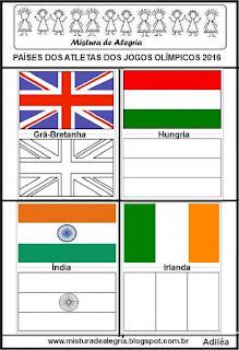 Bandeiras dos países de alguns atletas olímpicos