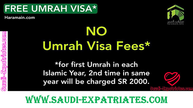 NO MORE UMRAH VISA FEE OF SR 2000 FOR ONE YEAR
