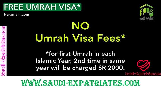 NO MORE UMRAH VISA FEE OF SR 2000 FOR ONE YEAR