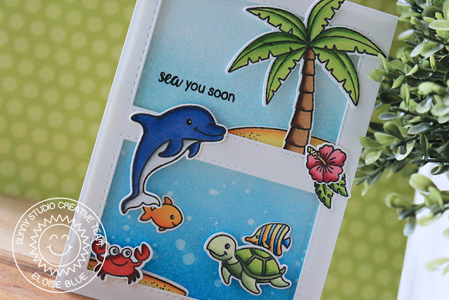 Sunny Studio Stamps: Island Getaway Oceans of Joy Summer Themed Card by Eloise Blue