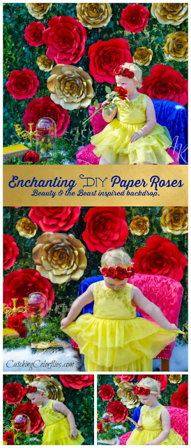 Beauty and the Beast party inspiration. DIY gold and red paper roses. Printable rose templates. DIY party decor.