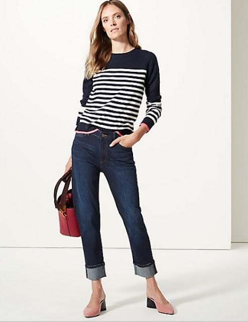marks and spencer relaxed slim leg high waist jeans