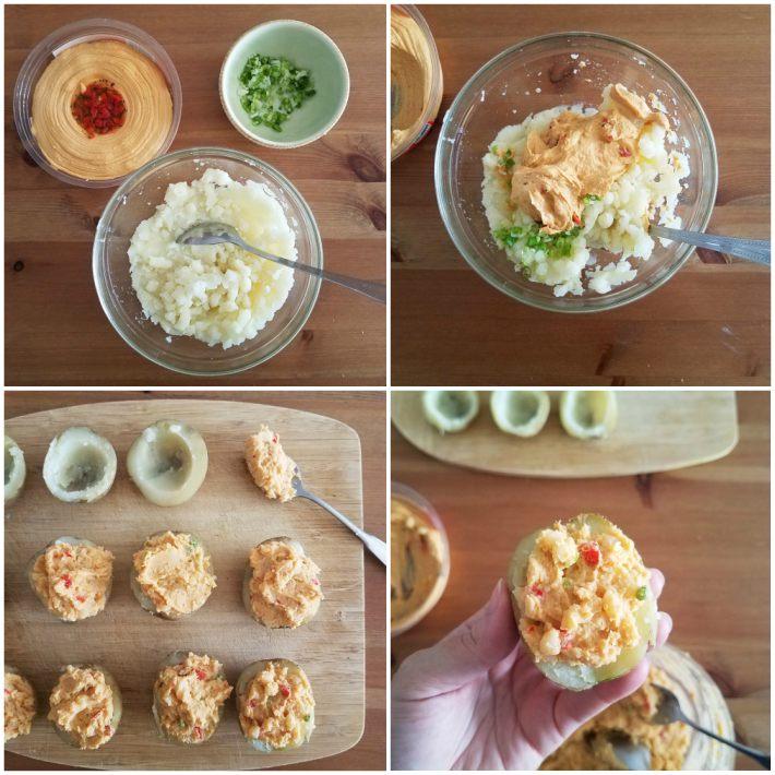 Preparación del relleno de hummus y cebollines para las papas