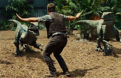 Owen Grady trains the Raptors, in Jurassic World, Directed by Colin Trevorrow