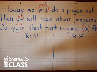 Pesty the Penguin chit chat chart morning message ideas for Kindergarten