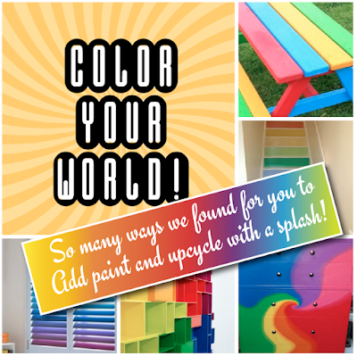 A Colorful Array of Painted Rainbow UPCYCLED  Crafts Furniture & Decor Ideas