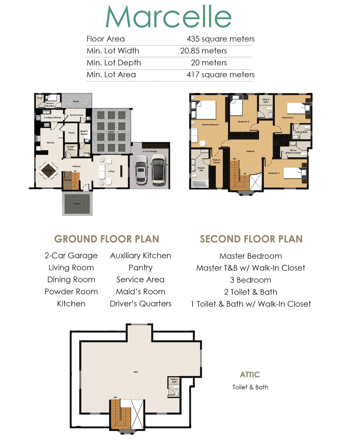 Floor Plan of Marcelle Ready Home - La Posada | House and Lot for Sale Sucat Muntinlupa