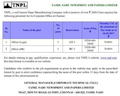 TNPL 02 Officer Recruitment 2017 tnpl.com Apply Now