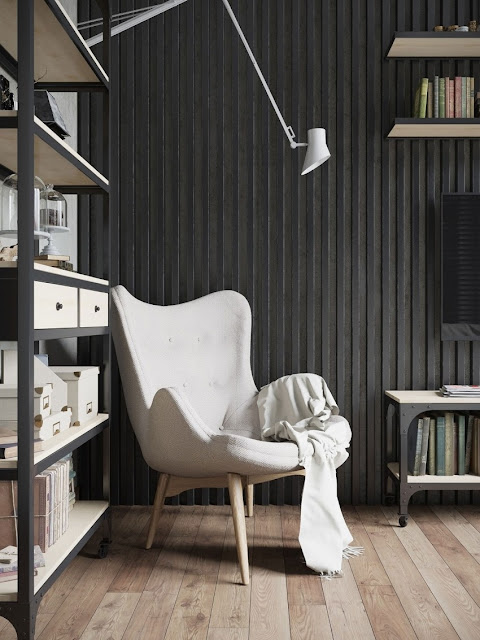 black and white reading room design by Denis Krasikov