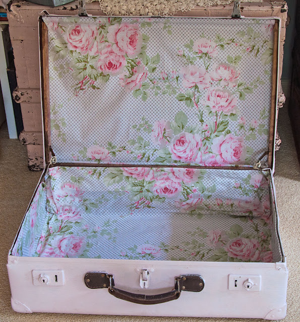 Old suitcase refurbished by http://lace-age-girl.blogspot.com.au/2016/03/a-suitcase-full-of-lace-treasures.html