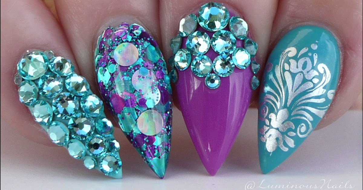Luminous Nails Purple Turquoise Teal Acrylic Gel