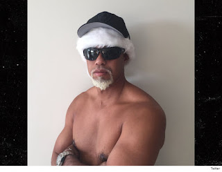 Tiger Woods Goes Topless with a Gray Goatee and wig for the  Christmas