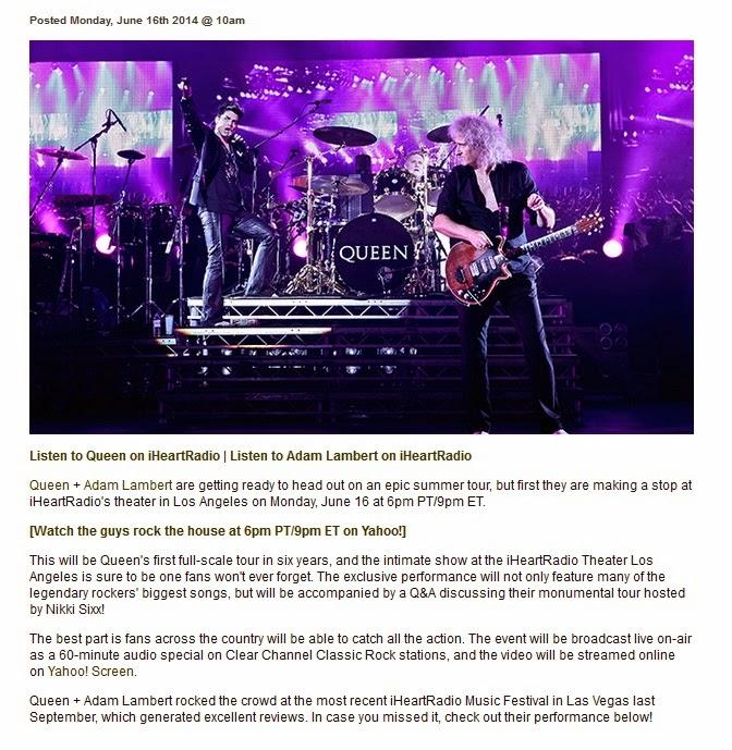 Adam Lambert 24/7 News: Queen + Adam Lambert to perform at