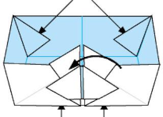 Bước 15: Lấy keo dán giấy dán tại vị trí các mũi tên như hình vẽ