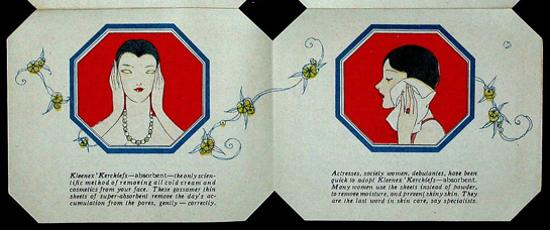 Kleenex, booklet 1926