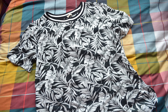 Hollister black and white floral t-shirt with sporty neckline