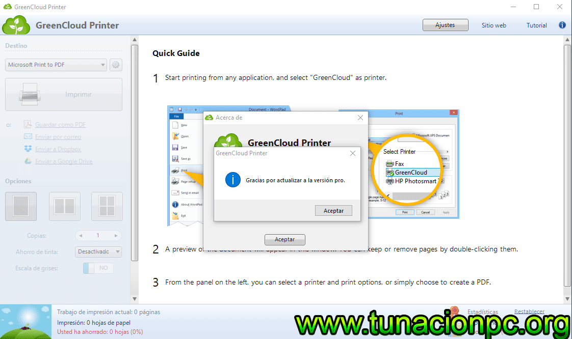 GreenCloud Printer Pro Gratis con Licencia