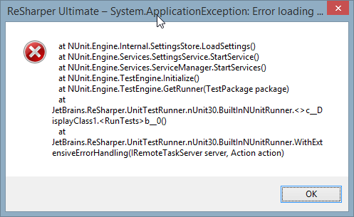 NUnit Exception: Error Loading Settings