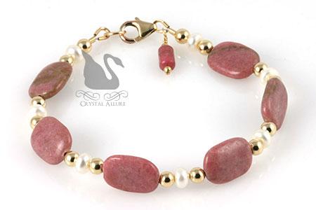 Freshwater Pearl Rhodonite Gemstone Beaded Bracelet (B206)