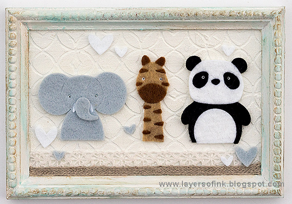 Layers of ink - Framed Animals Baby Gift by Anna-Karin Evaldsson with Simon Says Stamp Picture Book dies