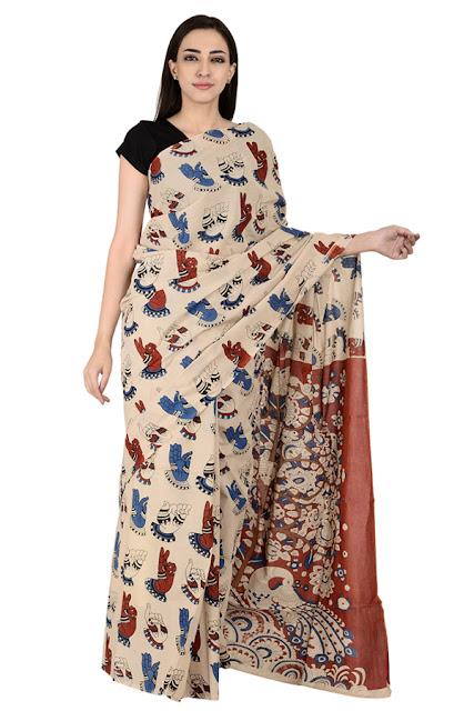Cream-Red and Blue Hand Mudra Pattern Cotton Kalamkari Print Saree