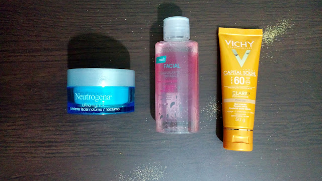 Hidratante Facial Noite Ultra Light - Neutrogena, Demaquilante Bifásico NEEDS, Protetor Solar VICHY