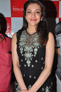 Kajal Aggarwal in lovely Black Sleeveless Anarlaki Dress in Hyderabad at Launch of Bahar Cafe at Madinaguda 030.JPG